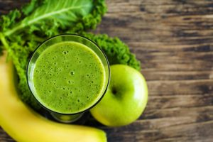 healthy green juice with banana and apple