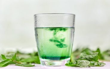 liquid chlorophyll in glass