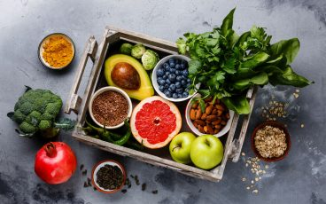 basket of raw fruits and vegetables